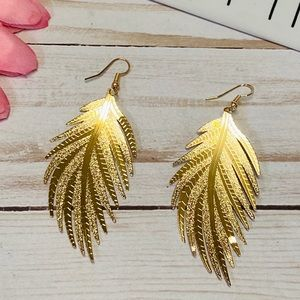 Gold Feather Shaped Drop Earrings